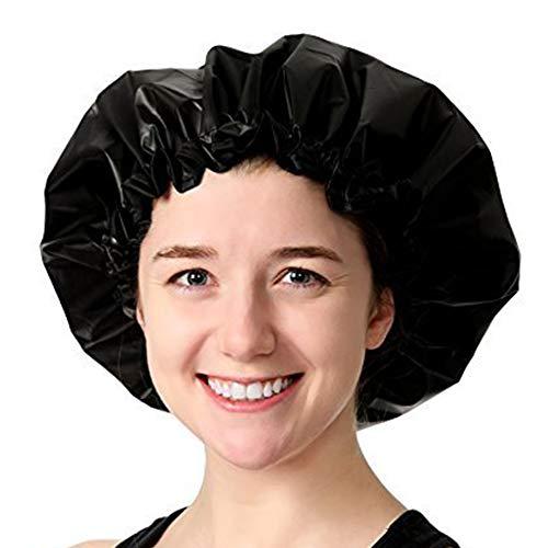 DDG EDMMS Einstellbare große Duschhaube Satin wasserdicht Duschhaube waschbar wiederverwendbar Duschhaube lang Haarschutz schwarz Haushaltswaren