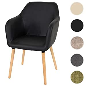 Chaise de séjour / salle à manger Malmö T381 / style rétro des années 50 / similicuir, noir