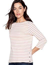 8d6be8789110 Principles Petite Womens Pale Pink Striped Cotton Petite Top