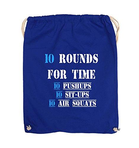 Comedy Bags - 10 Rounds for time 10 pushups 10 sit ups 10 air squats - Turnbeutel - 37x46cm - Farbe: Schwarz / Weiss-Neongrün Royalblau / Weiss-Hellblau