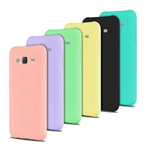 6 x Coque Samsung J3, SpiritSun Etui Coque TPU Slim Bumper pour Samsung Galaxy J3 / J3 2016 Souple Housse de Protection Flexible Case Anti Choc Mince Silicone Cover Rose Noir Jaune Bleu Violet Vert