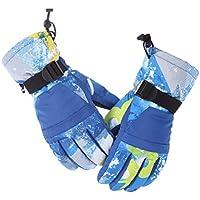 HuanXin-K031 Guantes de esquí más Guantes de Terciopelo Acolchados Antideslizantes Impermeables Antideslizantes para Motocicleta Guantes Azules