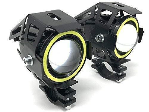 Motorrad Projektor LED Scheinwerfer & Weiß Halo-Ringe für Adventure Fahrrad & Quads - Paar - 10W 3000LM