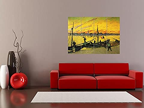 PANEL ART PRINT VINCENT VAN GOGH COAL BARGES 1888 OLD MASTER PAINTING REPRODUCTION POSTER OZ4615