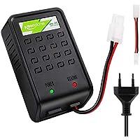 Keenstone Airsoft Chargeur Batteries avec Prise Mini Tamiya et Adaptateur Standard pour Batteries NiMH 1-8s Compatible pour Batteries Airsoft 1.2 V,2.4 V, 3.6 V, 4.8 V, 6 V,7.2 V, 8.4 V, 9.6 V