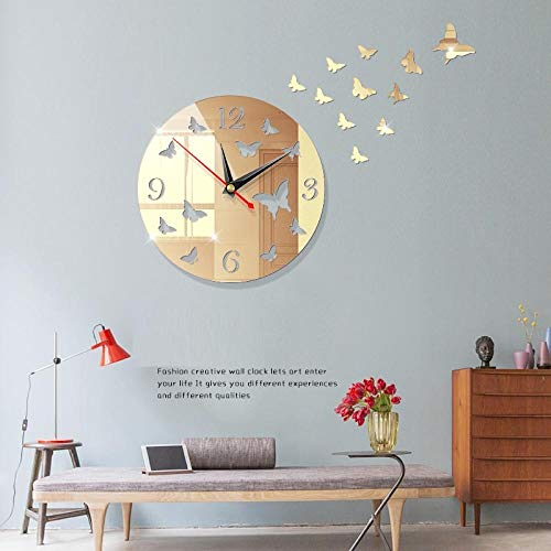 Zuonuoo Wanduhr, Wanduhr, Wandaufkleber Uhr, kreative europäische Wanduhr nach Hause diy3D dreidimensionale dekorative Uhr Acryl Schmetterling Wandaufkleber Wanduhr Spiegel Licht Gold