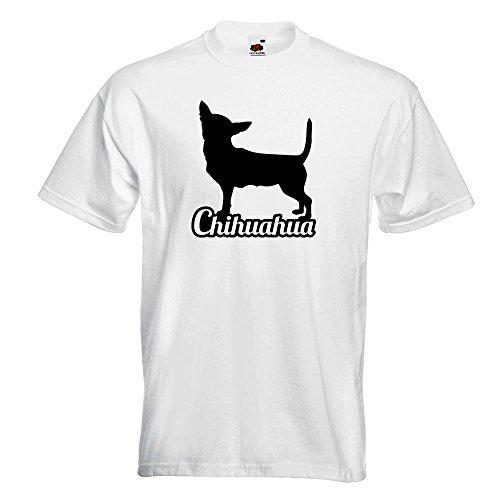 KIWISTAR - Chihuahua mit Name Techichi T-Shirt in 15 verschiedenen Farben - Herren Funshirt bedruckt Design Sprüche Spruch Motive Oberteil Baumwolle Print Größe S M L XL XXL Weiß