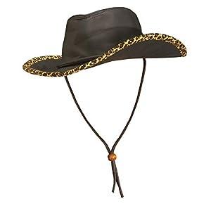 WIDMANN 3385i?Piel sintética Sombrero de Cowboy con Leopard Borde para Adultos, One Size
