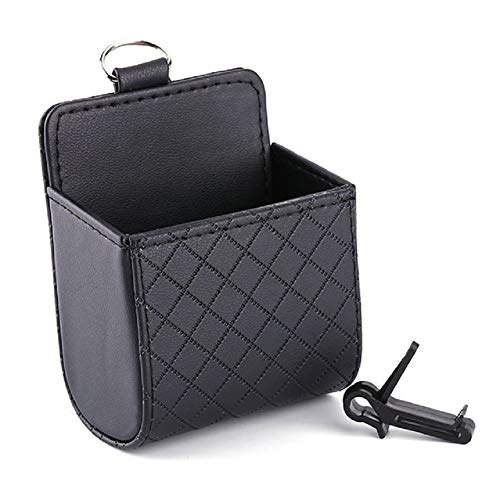 GPFDM Auto-Organizer/Air Outlet Dashboard Hanging Box Bag PU Leder Seat Back Tidy Storage Bag Coin Mobile Phone Holder Car-Styling,Black -