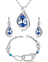 Oviya Rhodium Plated Valentine Collection Combo Of Fabulous Crystal Pendant Set And Heart Link Bracelet CO2104706R