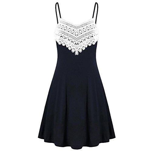 VEMOW 2018 Elegante Damen Frauen Crochet Spitze Backless Mini Slip Kleid Leibchen Sleeveless Beiläufige Tägliche Party Strandkleid(Schwarz, EU-46/CN-2XL)