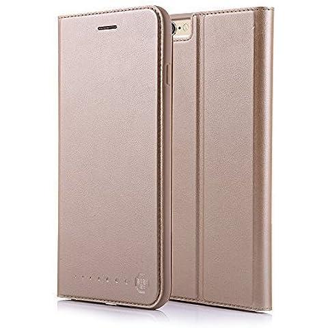 Nouske Funda tipo cartera para iPhone 6 Plus y 6S Plus de 5.5 pulgadas de Apple, dorada