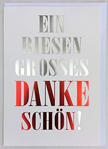 A4 XXL Dankkarte Riesengroßes Dankeschön Schrift silber und rot