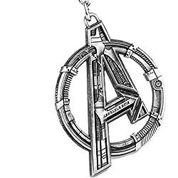 Beaux Bijoux - Colgante de Marvel, con el logotipo de los Vengadores, la letra A - Cosplay de superhéroe - Caja de regalo incluida