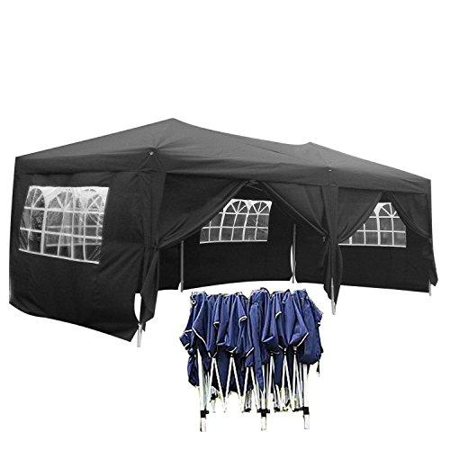Gartenpavillon 3x6 wasserdicht Faltbar stabil aus 270g/ m² Polyester mit PVC-Beschichtung von Serface, Pavillon Partyzelt Faltpavillon Festzelt Schwarz