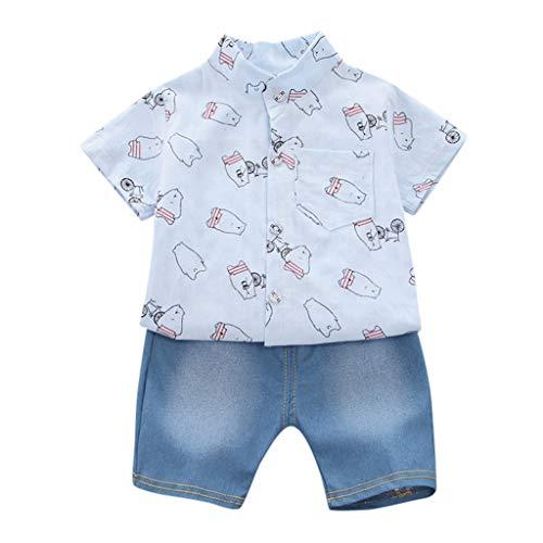 Allegorly Kleinkind Baby Kinder Junge Kurzärmliges Hemd Cartoon Kronenaufdruck T-Shirt Tops + Jeansshorts Hosen Elastische Sommerkleidung Outfit Set 0-3 Jahre