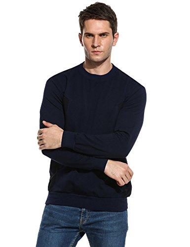 Coofandy Herren Sweatshirt Pullover Biker-Style Hoodie Langarmshirt Sweater mit Rundhalsausschnitt C-Marine