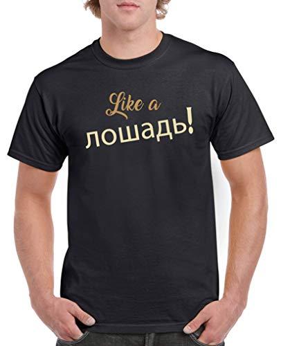 Comedy Shirts - Like a Pferd! Russisch - Herren T-Shirt - Schwarz/Hellbraun-Beige Gr. M