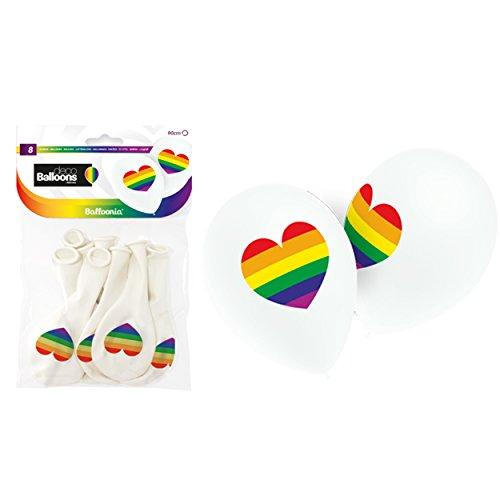 Weiße Luftballons mit Buntem Regenbogen Herz Aufdruck 8 Stück ⌀ 28cm aus Naturlatex, Bunte Ballons ideal für die nächste Party, hergestellt in der EU und biologisch abbaubar, Premium Qualität
