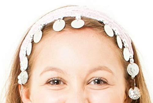 The Turkish Emporium Bauchtanz Stirnband Haarband Zubehör Tanzen Kostüm Fasching (rosa mit silbernen Münzen)