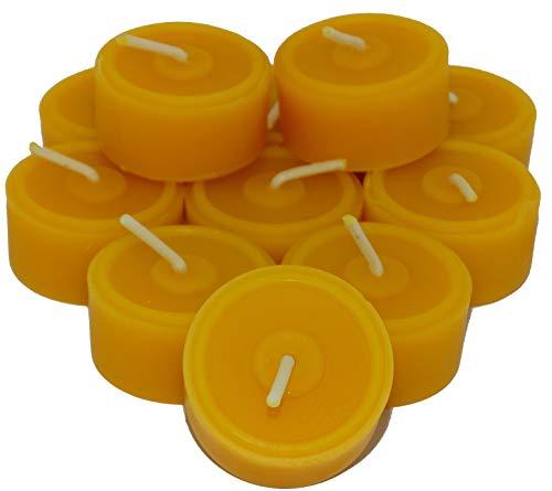 60 St. Teelichter aus 100% Bienenwachs Handgefertigt direkt vom Imker Sparpack Nachfüllpack - Bio-klaren Honig