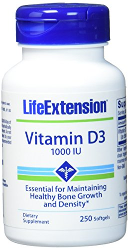 Life Extension , Vitamin D3 , 1000 IE , 250 Kapseln , hochdosiert , ohne Gentechnik , Glutenfrei , Sojafrei (Sonne D Vitamin)