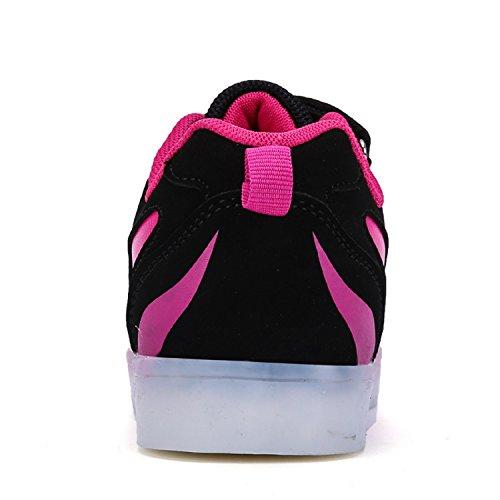 Frühling Sommer Unisex Kinder Jungen Mädchen Turnschuhe LED Flashing Schuhe 7 Farben USB Sneakers Dunkelrosa