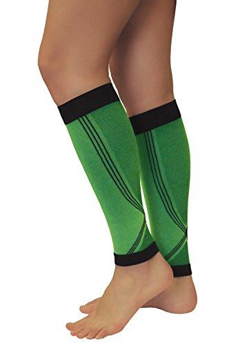 Tonus Elast 1 Paar Grüne Wadenbandage, Kompression Stulpen, Calf Sleeves, Sport Strümpfe, Waden Kompressionsstrümpfe (Grün, L (Körpergröße 158-170 cm))