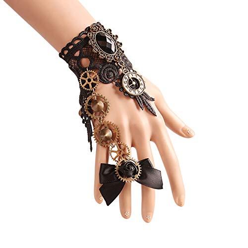 Qinlee Damen Spitze Armbänder Mit Ring Vintage Gothic Armband Mädchen Bankette Halloween Party Armkettchen (Schwarz1)
