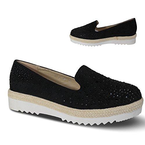 Damen Slipper Plateau Sneakers Ballerinas Glitzer Nieten ST551 Schwarz