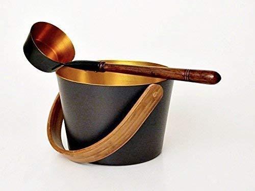 Sauna - Aufgusseimer 5,0 l aus Aluminium (außen schwarzbraun / innen gold) plus Aufgusskelle (schwarz/gold) mit Holzgriff
