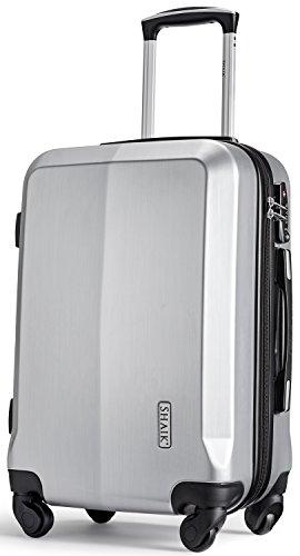 SHAIK® Serie Professional, SIN Größe M Handgepäck Boardgepäck Koffer, 32 Liter TSA Schloss, SH009 (Silber, M | Handgepäck) (Silber Hardside Gepäck)