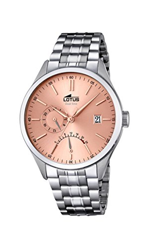 Lotus Men's Quartz Watch with Rose Gold Dial Analogue Display and Silver Stainless Steel Bracelet 18213/2