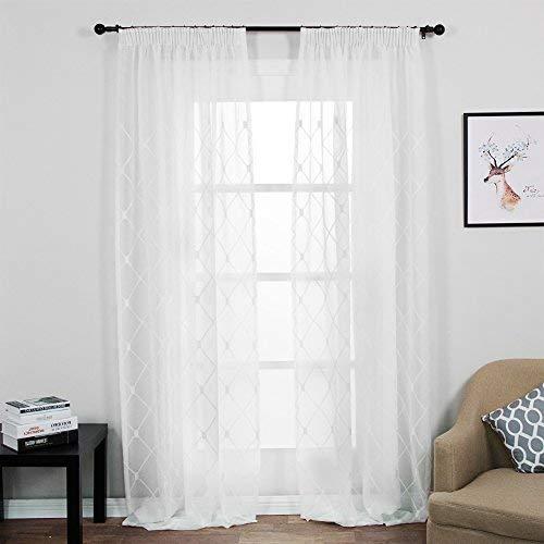 Top Finel Gestickte Kariert Voile Gardinen Kräuselband Vorhang Panels für Wohnzimmer Schlafzimmer,2 stück,140cm x 245cm(W x H),Weiß