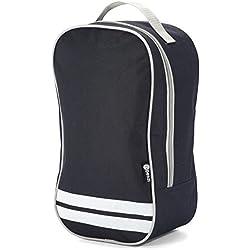Benzi - Bolsa para botas de fútbol con asa de transporte, color negro con rayas, cierre de cremallera