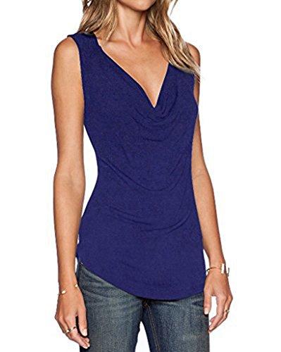 Beiläufige Oberteil ZJCTUO Damen V-Ausschnitt Ärmellos Wickelshirt Basic Shirt Bluse(EU 38/M, Dunkelblau)