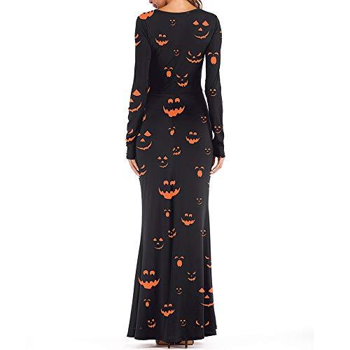 iYmitz Halloween Tag Toten 3/4-Arm Kostüm Damen Braut Frauen Kleid Gothic Skeleton Schädel Lange Hülse Aushöhlen Cosplay Maxi Kleider(schwarz,L) (Göttin Für Erwachsenen Plus Kostüm)