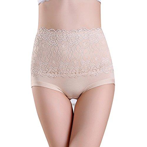 FZmix Women'S Briefs Underwear Modal Abdomen Panties Multicolor Classic High Waist Lady'S Underwear Girl Lingerie Underpants Beige