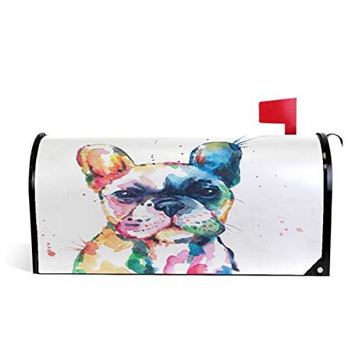 Wamika Briefkasten-Abdeckung, magnetisch, Motiv: Französische Bulldogge, Briefkasten, Garten, Hof, Heimdekoration, für Außenbereich, Standardgröße 52 cm (L) x 46 cm (B)