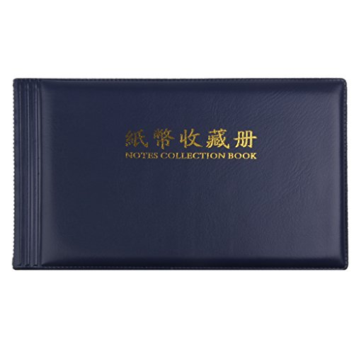 Banknote Currency Collectors Album Pocket Storage 30 Pages Royalblue