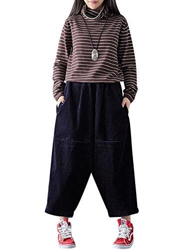 Youlee Damen Vordere Taschen Elastische Taille Baumwolle Cordhose Stil 2 tiefblau