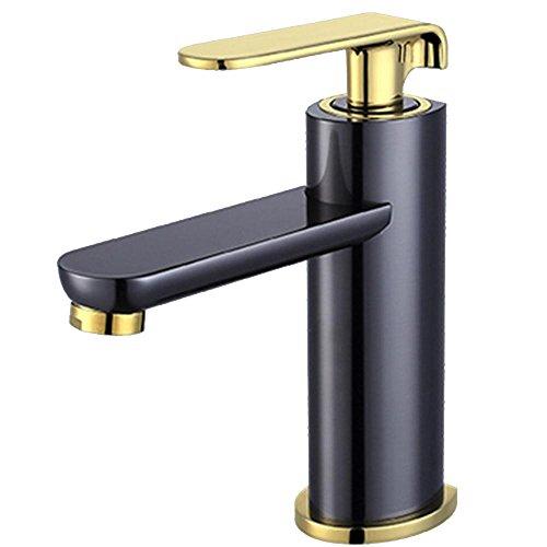 HTYQ tutto il rame Chrome Bathroom Lavandino rubinetto caldo singolo foro e bagno freddo gabinetto (Valvola A 3 Spool)