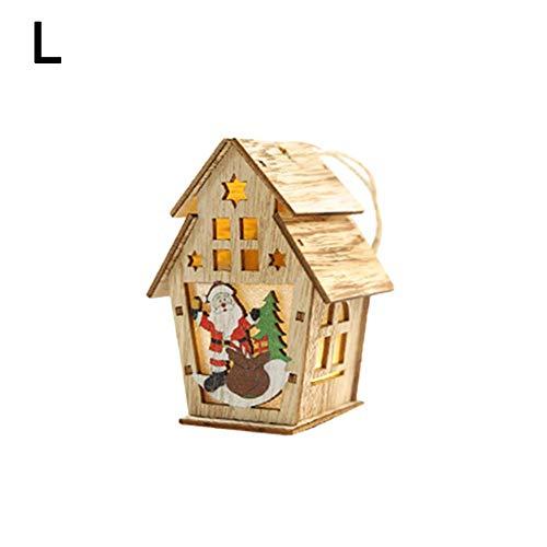 2019 Weihnachten DIY Kleines Haus Holzdekoration Kabine Beleuchtete Lichter Dekoration Hängende Christbaumschmuck - Sockel-storage-bett