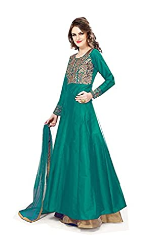 Da Facioun Anarkali Style Green Color with Embroidery Work Incredible Unstitched Salwar Kameez 76894