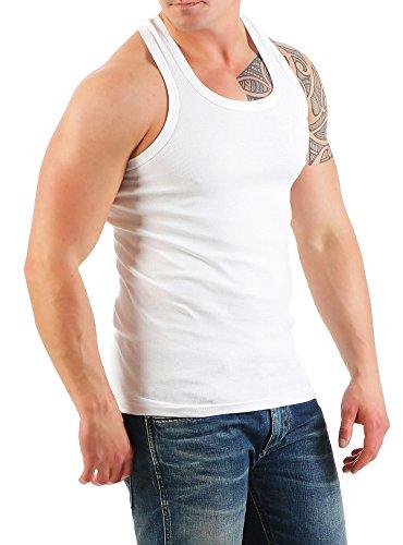 2er Pack Herren Tank Top Unterhemd Muskelshirt Ramboshirt Nr. 452 ( Weiß-Weiß / XL ) - 3