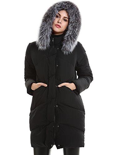 Escalier Donna Inverno giù cappotto piume d'anatra bianca con genuina pelliccia di volpe con cappuccio (XX-Large, nero)