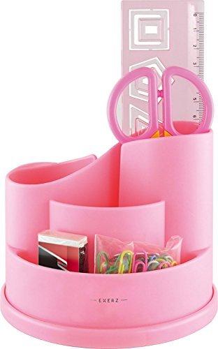 Exerz EX8286 Portaoggetti da scrivania con forbici di sicurezza (NON Affilate), Righello, Gomma, Graffette set di cancelleria INCLUSO - Organizzatore di cancelleria / Scrivania ordinata / Riordinatore di penne / Set Organizzatore penne (Rosa)