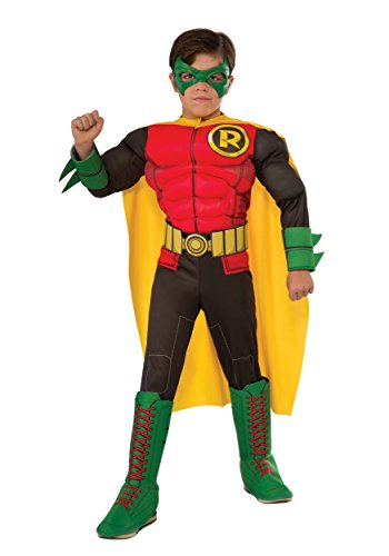 Batman Robin Deluxe Kostüm für Kinder, Größe:M (Red Robin Kostüm)
