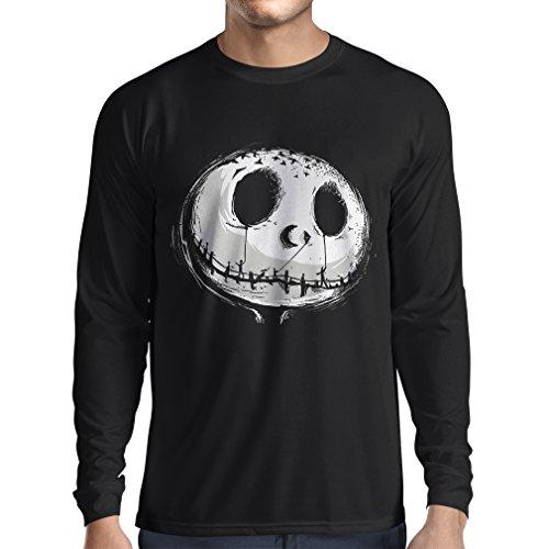 Camiseta de Manga Larga para Hombre cráneo asustadizo Cara - Pesadilla - Ropa de Fiesta de Halloween (XX-Large Negro