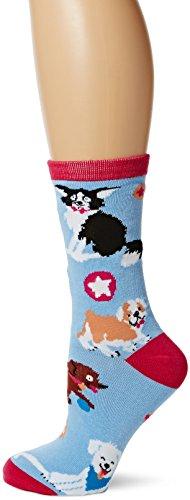 Hatley Little Blue House by Damen Crew Socks Sportsocken, Violett (Pinkcute Pups 500), One size - Cotton House Kleid